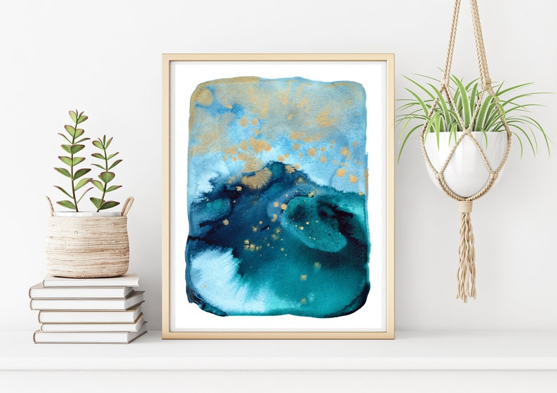 Ocean Abstract Watercolor Painting Print Coastal Home Decor image 0