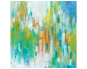 SALE Original Abstract Painting, Modern Fine Art, Contemporary Home Decor, 12x12 Square Canvas Wall Art green turquoise blue orange yellow