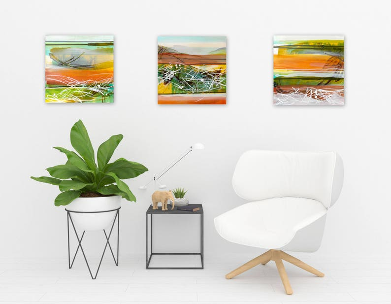 Original Abstract Triptych Square Paintings Abstract image 0