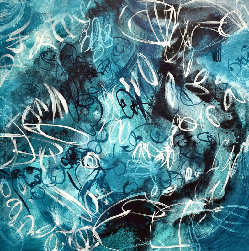 Midnight Swim Original Abstract Expressionist Acrylic image 0