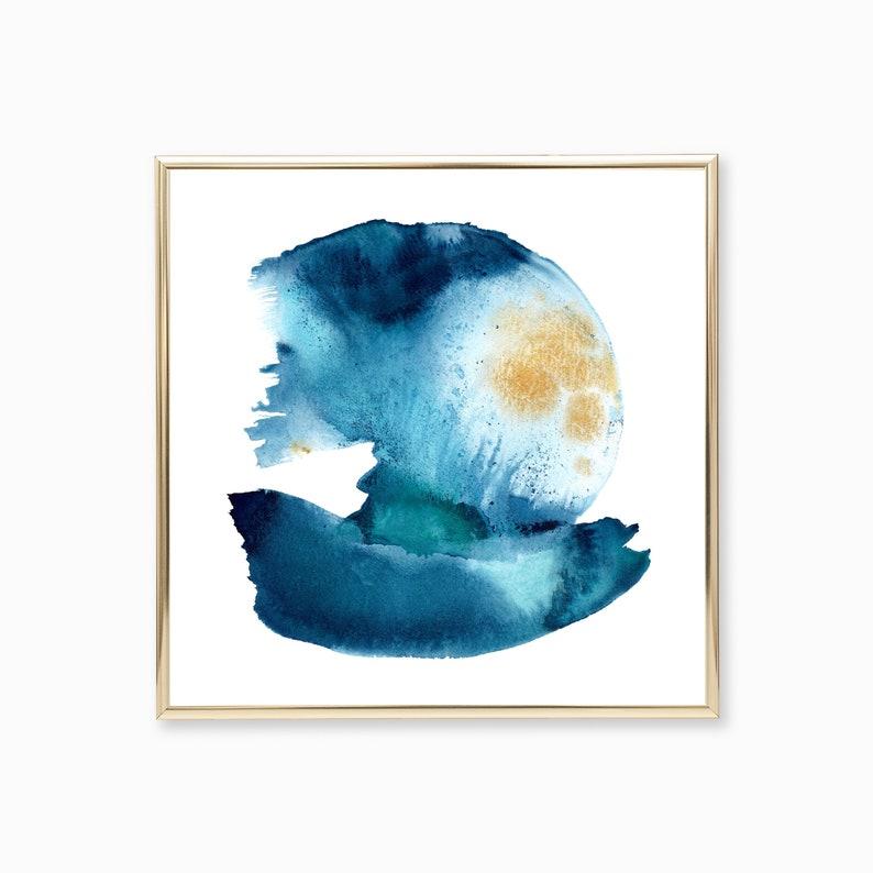 Wave Abstract Watercolor Print Ocean Painting Coastal Home image 0