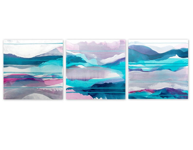 Original Abstract Triptych Abstract Landscape Paintings Boho image 0