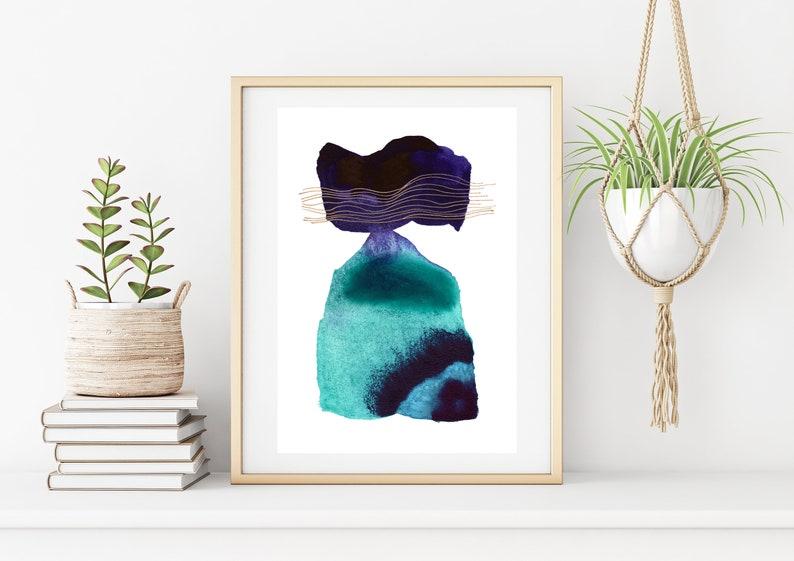 Abstract Watercolor Digital Print Minimalist Painting Art image 0