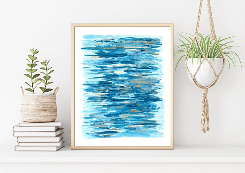 Ocean Abstract Watercolor Painting Print Blue and Gold Water image 0