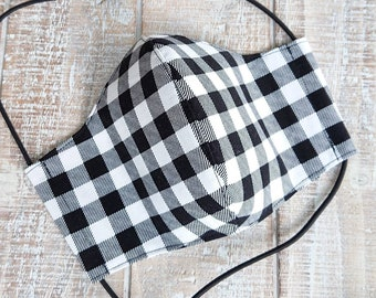 Ladies 3 Layer Cotton Fitted Face Mask, Black and White Buffalo Plaid Contour Face Cover Filter Pocket Nose Wire Adjustable Elastic & Toggle