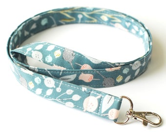 Women's Cotton Key Lanyard in  Light Teal Blue & Pink Floral Fabric, Options: Detachable Lanyard with single or double breakaway, Wristlet