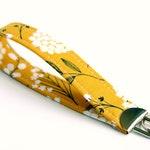 Ochre Yellow Fabric Key Fob, Short Key Lanyard, Fabric Key Chain, Trendy Key Loop Fabric Wristlet Boho Teacher Gift under 10 Dollars