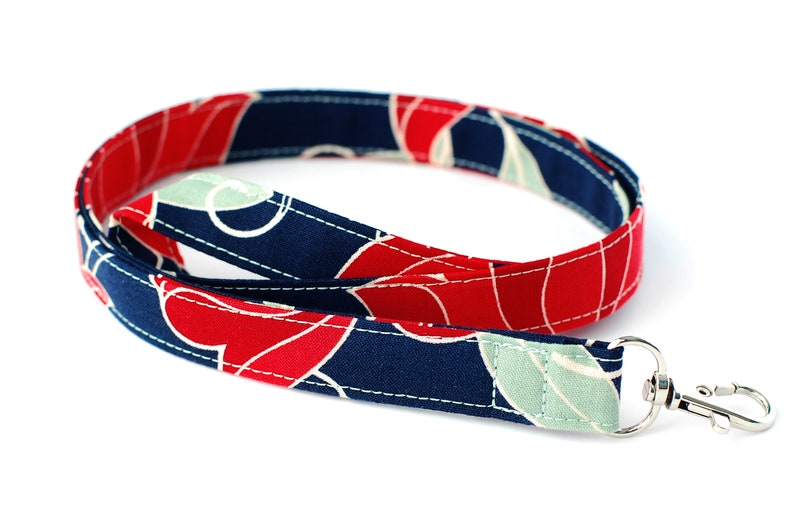 Fabric Key Lanyard Navy Red & Sage ID Badge Lanyard Cotton image 0