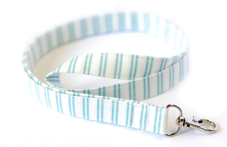 Teacher ID Badge Fabric Lanyard Blue and White Stripe image 0