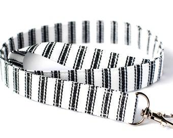 Teacher ID Badge Fabric Lanyard, Black & White Safety Lanyard, Ticking Stripe Lanyard, Key Wristlet, Breakaway and Detachable Lanyard Opt