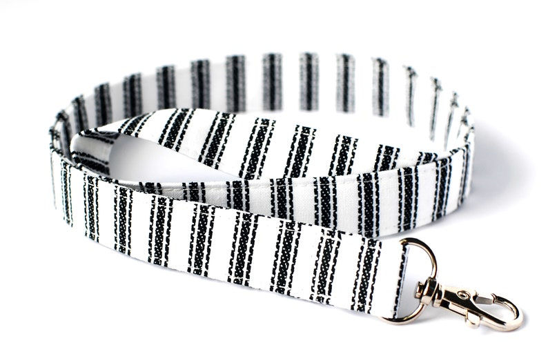 Key Lanyard Black & White Neck Lanyard Ticking Stripe image 0