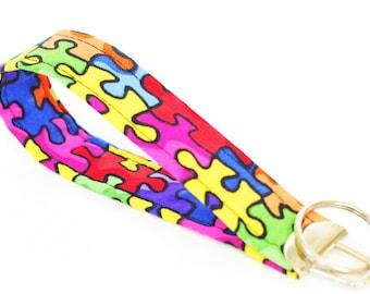 Autism Awareness Fabric Key Fob, Short  Key Lanyard, Fabric Key Chain, Trendy Key Loop Fabric Wristlet,  Teacher Gift