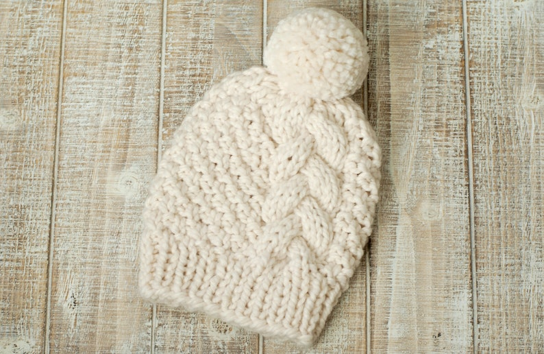 Women's Cozy Handknit Braided Cable Hat in Natural Cream image 0