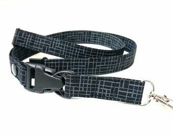 Lanyard, Black and Gray Key Lanyard, Detachable Fabric Lanyard with Breakaway & Release Key Ring, ID Badge Holder  Lanyard