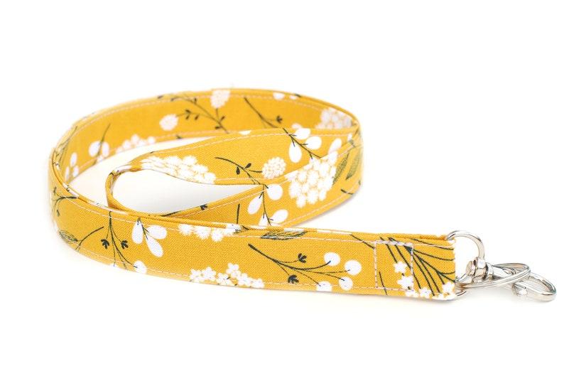 Ochre Floral Fabric Lanyard  Dark Yellow Lanyard. Teacher image 0