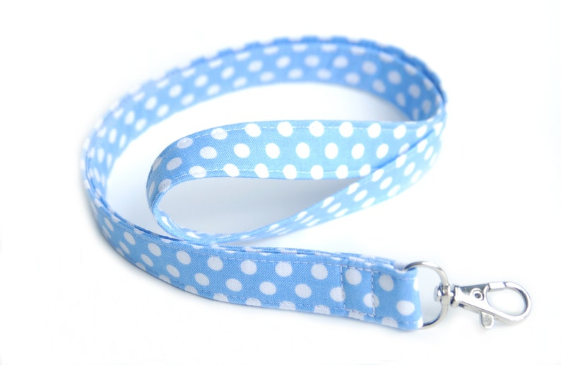 Blue Fabric Key Lanyard Blue Polka Dot Lanyard ID Badge & Key image 0