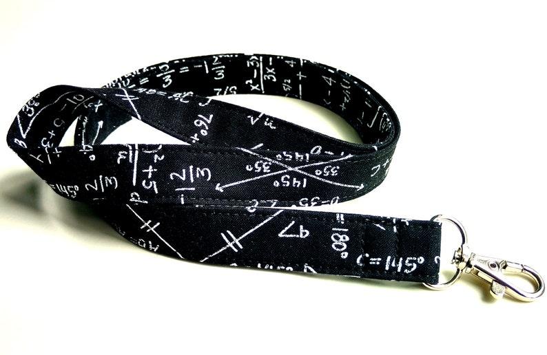 Math Geek Fabric Lanyard Optional Breakaway Neck Lanyard ID image 0