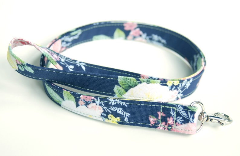 Floral Fabric Key Lanyard for Women Navy Fabric Lanyard image 0