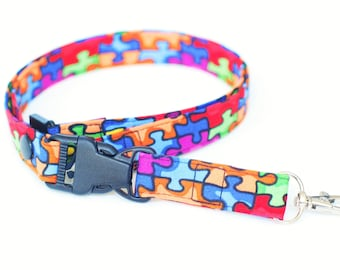 Autism Awareness  Detachable Fabric Lanyard, ID Badge Holder & Release Key Ring, Breakaway  Neck Lanyard, Breakaway Key Lanyard