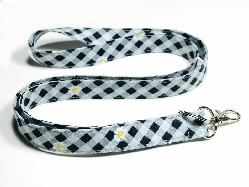 Black and Gray Fabric Lanyard Teacher Lanyard Neck Lanyard image 0