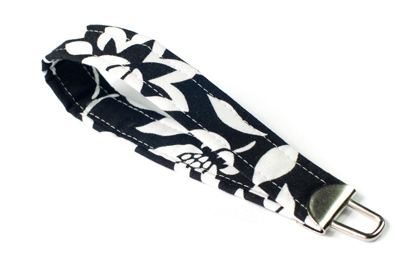 Black and White Fabric Key Fob Short Key Lanyard Floral image 0