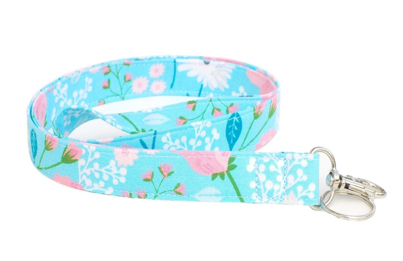 Key Lanyard Floral Aqua Pink and Green Fabric Neck ID Badge image 0