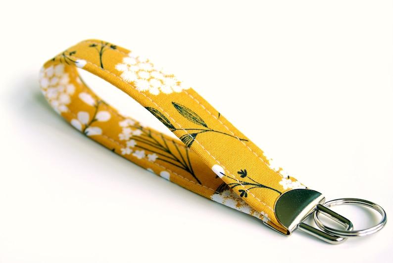 Ochre Yellow Fabric Key Fob Short Key Lanyard Fabric Key image 0