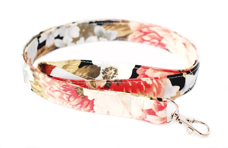 Floral Fabric Key Lanyard for Women Black Coral and Ivory ID image 0