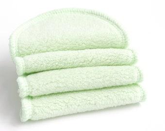 "3.5"" Cotton Facial Poufs, 15 Green Sherpa 2 Ply Reusable Makeup Removal Pads, Disposable Pouf Alternative Eco friendly Facial Wipes"