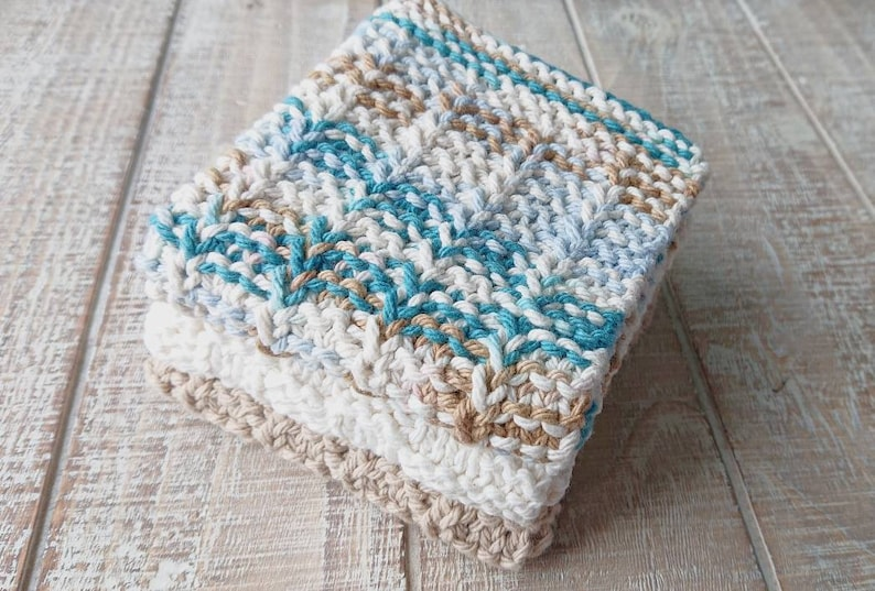 Set of 3 Hand Knit Cotton Dishcloths Knitted Washcloths image 0