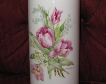Vase, Hand Painted Porcelain  with Tulips and Lily of the Valley