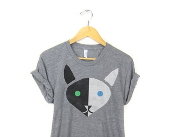 Geo Two Tone Cat Tee - Boyfriend Fit Crew Neck T-shirt with Rolled Cuffs in Heather Grey Black and White - Women's Size S-4XL
