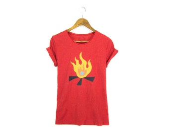 SAMPLE SALE Campfire Tee - Boyfriend Fit Crew Neck T-shirt with Rolled Cuffs in Heather Rainbow Speckle Red & Fire - Women's Size S