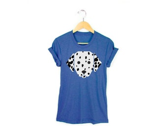 57c4c998d Geo Dalmatian Tee - Boyfriend Fit Crew Neck T-shirt with Rolled Cuffs in  Heather Royal Blue and White - Women's Size S-4XL