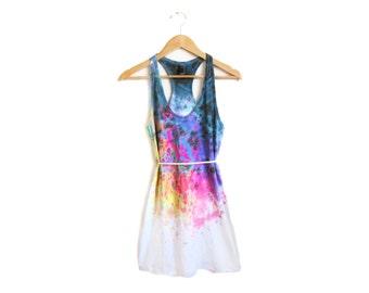 "Spectrum Rainbow Tank Dress - Original ""Splash Dyed"" Hand PAINTED Scoop Neck Racerback Dress in White - Women's SIze XS-4XL"