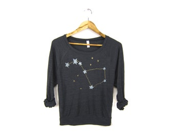 Big Dipper Sweatshirt - Oversized Lightweight Long Sleeve Pullover Raglan Sweater in Heather Black and Gold - Women's Size XS-2XL