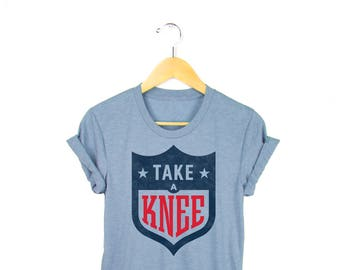 Take a Knee Tee - Football T-shirt, #takeaknee Tshirt, Colin Kaepernick Shirt in Tri-blend Heather Grey and Black - Unisex Size XS-4XL
