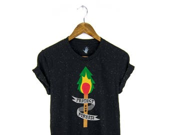 Protect Our Forests Tee - Boyfriend Fit Crew Neck T-shirt with Rolled Cuffs in Heather Rainbow Speckle Black - Women's Size S-3XL