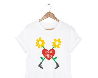 Peace not Piece Tee - NeverAgain T-shirt, March for Our Lives Shirt, Short Sleeve Tshirt in White or Pick a Custom Color - Unisex Size S-3XL