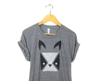 Geo Bulldog Tee - Boyfriend Fit Crew Neck T-shirt with Rolled Cuffs in Heather Grey Black and White - Women's Size S-4XL