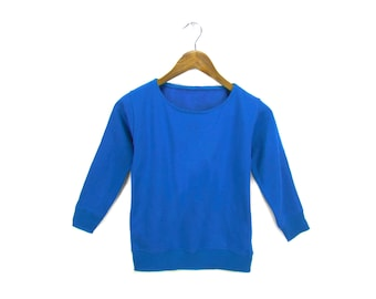 SAMPLE SALE Crew Neck Sweatshirt Solid Round Neck Pullover Fleece Long Sleeve Pocket Sweater Royal Blue Toddler Kids Size 5-6  7-8 Youth S
