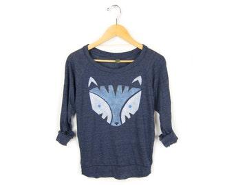 Geo White Tiger Sweatshirt - Oversized Lightweight Long Sleeve Pullover  Raglan Sweater in Midnight and Ice Blue - Women s Size XS-2XL e58fc9436