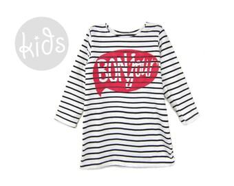 Scoop Neck Long Sleeve A-Line Shift Dress in Black and White Stripe Girls Size Toddler 4T SAMPLE SALE BONjour Dress