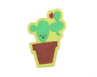 Colorful Patch in Lime Green and Terra Cotta House Plant Patch Cactus Friend Patch Hand Printed Patch