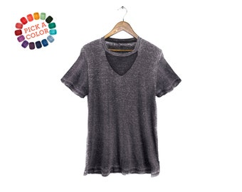 603ec1115 Cutout Wide V-Neck Tee - Choker T-shirt, Loose Fit Tshirt, Keyhole Top in  Grey Burnout or Pick a Custom Color - Women's Size S-2XL