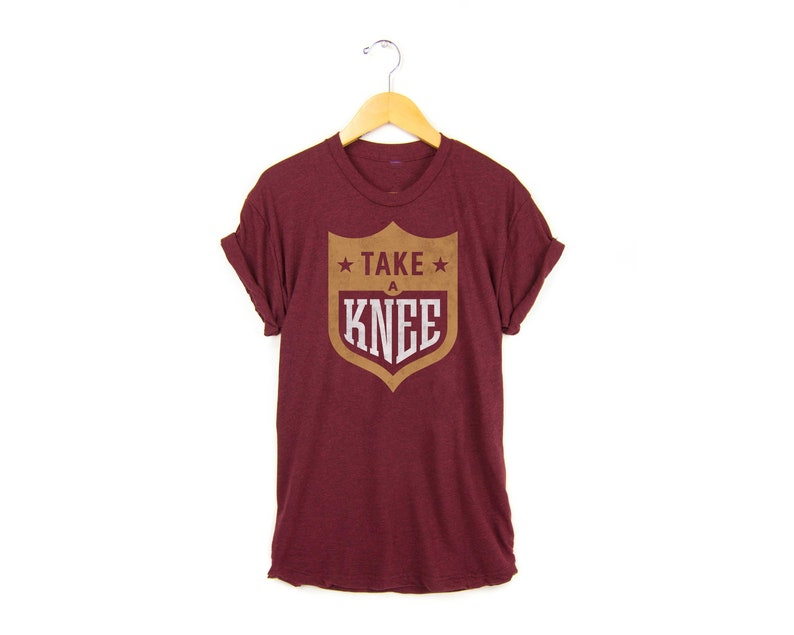super popular 0324e 4dccb Take a Knee Tee - Protest T-shirt, Eric Reid SF 49er Tshirt, #imwithkap  Shirt in Tri-blend Cardinal Red and Gold - Women's Size S-4XL