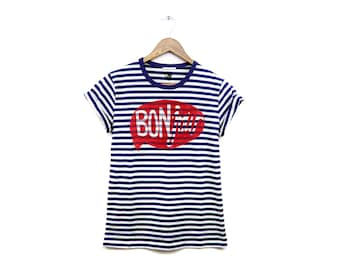 BONjour Tee - Boyfriend Fit Crew Neck Striped T-Shirt with Rolled Cuffs in Custom Navy and White Stripe - Women's Size S-2XL