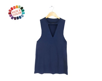 Cutout Deep V-Neck Tank - Choker T-shirt, Loose Fit Tshirt, Keyhole Top in Navy or Pick a Custom Color - Women's Size S-3XL