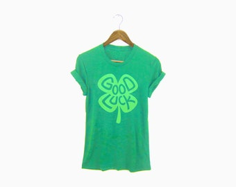 SAMPLE SALE - St Patricks Day Shirt - Good Luck Tee - Boyfriend Fit Crew Neck T-shirt with Rolled Cuffs in Envy - Women's Size XL 2XL