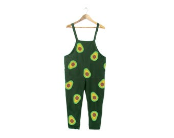 AvocadOveralls - Minimalist Overalls, Oversized Simple Jumpsuit, Vintage Cropped Romper in Forest Green - Unisex Size S-5XL